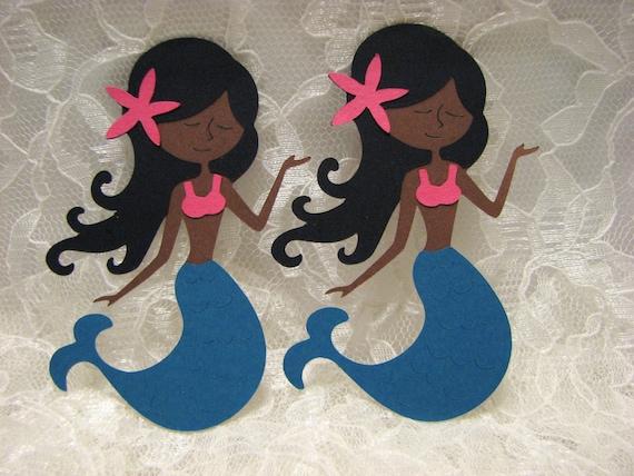 4 African American Mermaid Die Cuts Mermaid Cupcake
