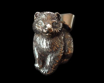 Solid Bronze Bear Cub Biker Pendant sold without the Chain - Free Shipping