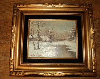 Vintage Original Oil Painting Of A Cabin in the Woods in the Winter  by  The Artist Andre De Jonge, A Calm Composition in  great gold frame