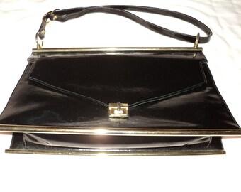 Vintage  Black Patent Leather Envelope Style Clutch Handbag with brass accessories, A Robert Bostien Original Purse