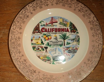 CALIFORNIA HERE I COME, White Ceramic China Plate with Pink Border and gold leaf trim with Transfer Print Decl Design, Great Condition