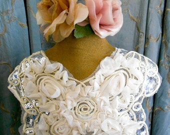 Ribbon Rosette Sequined Butterfly Appliques