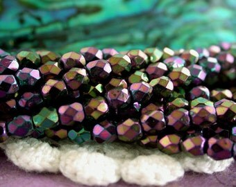 2 Strands ~ 100 Pieces 3mm Firepolished Beads, Czech Glass Fire Polished Beads, Purple Iris Beads, Faceted Glass Beads CZ-040