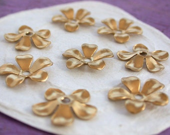 Stampings, Brass Flower Stampings, Metal Stamped Flowers, Vintage Style Metal Flowers STA-104