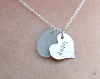 Sea Glass & Custom Tag with Name or Initials - Neckalce