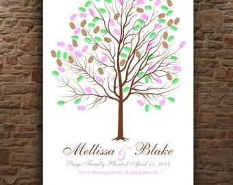 WEDDING THUMBPRINT TREE - Interactive Art Print - 25-75 guest sign in - Love Birds Tree Guestbook - Modern Keepsake Gift 11x17 num. 144
