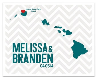 Hawaii Wedding Gift Personalized State and Heart Custom Wedding Date Location City and State Modern Art Print Map Couple 8x10 Honolulu