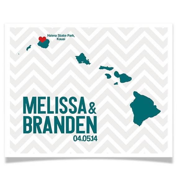 Wedding Gifts From Hawaii: Hawaii Wedding Gift Personalized State And Heart Custom