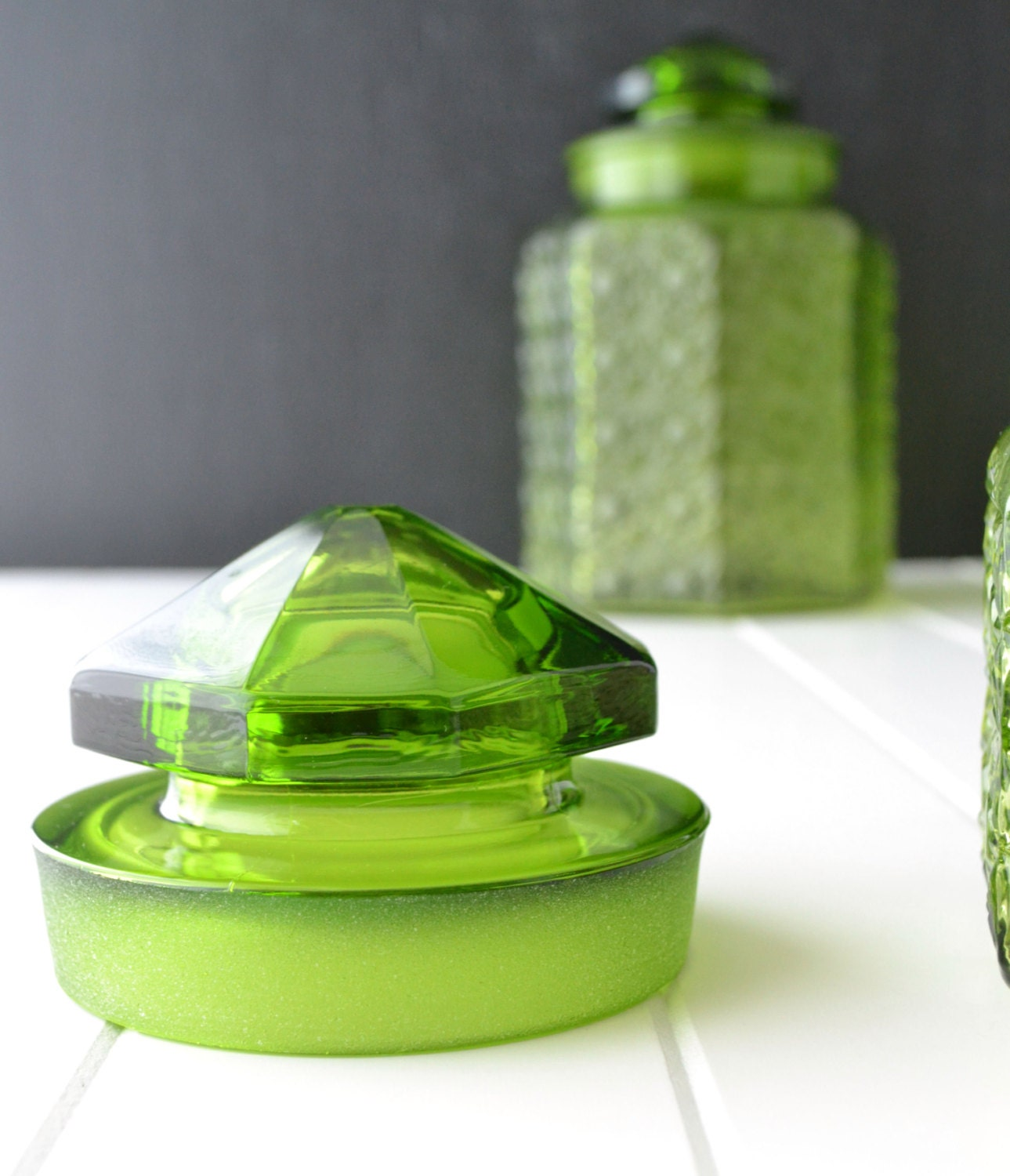 Vintage Green Kitchen: Green Glass Canisters Vintage Kitchen Canisters L E By