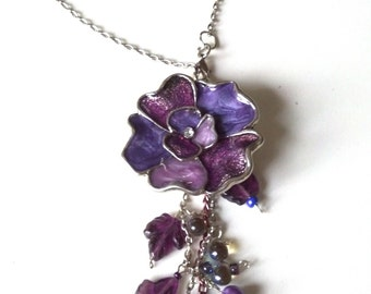 Purple Bohemian Flower Necklace, Enamel Flower Necklace, Purple, Magenta,Violet, Bridal, Lariat Styles Jewelry SALE