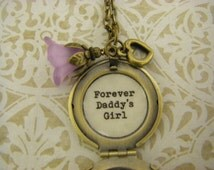 Dad to daughter Locket Necklace forever daddy's girl pinkflower heart ready to ship daughter wedding dad daughter dance ships from USA
