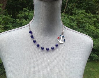 Sailor Sam Multi Color Anchor Necklace with Czech Cobalt Blue Beads Great for the Summer * ON SALE*