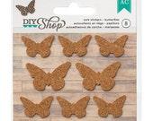50% Off - American Crafts Diy Shop Cork Stickers - Butterflies -- MSRP 2.00