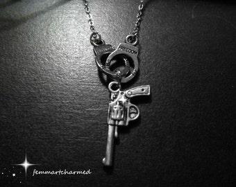 Handgun Necklace - Handcuff Necklace - Silver - Gun Charm - Cowgirl - Wild West - Police Charm -  Birthday Gift