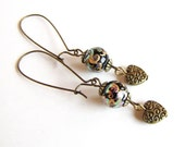 Heart Earrings Valentine's Day , Long earrings , Brass and Tensha Beads Valentine's Day Gift
