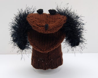 Knit sock puppet, knit hand puppet, knit puppy puppet, puppy hand puppet, dog hand puppet, dog sock puppet, dog puppet, brown puppy puppet