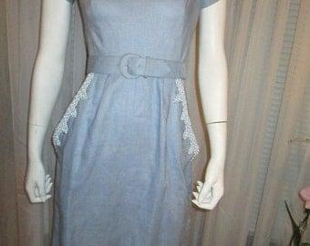 1950 CALIFORNIA Unknown Dressmaker Baby Blue Linen Dress