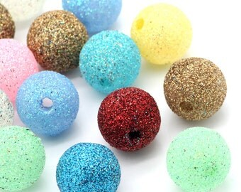 10 Glitter Beads - Assorted Colors - 16mm - Ships IMMEDIATELY from California-  B821