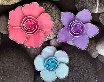"SALE Prima Queen Mary ""Prism"" Flowers - Metal Embellished Mulberry Paper Flowers - 3 pcs - Ships IMMEDIATELY from California - 566227"