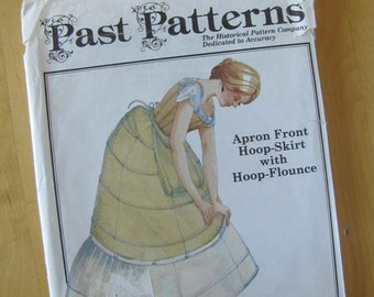 Uncut Past Patterns 712 Apron Front Hoop Skirt with Hoop Flounce - Size SM-XXL