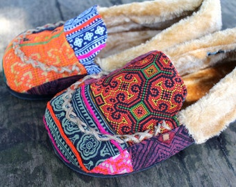 Moccasin Style Womens Slippers Patchwork Hmong Embroidery With Plush Lining Gift- Riley