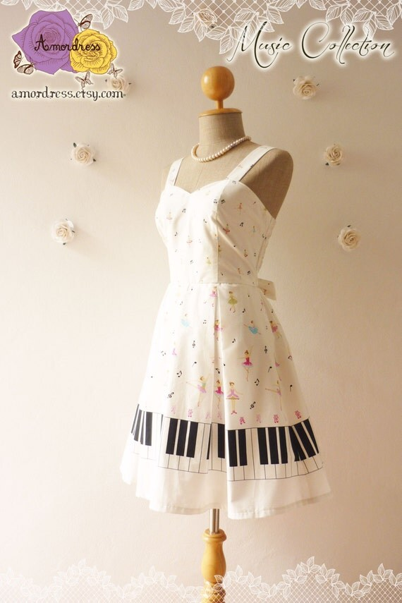 Sale music lover piano dress white dress sweet day dress bridesmaid