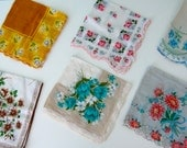 Vintage Handkerchiefs // Lot of 6 // Bridesmaids Gifts // Floral Designs // 100% Humane Society Donation