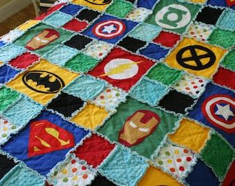 Superhero Rag Quilt / Blanket - Full / Double