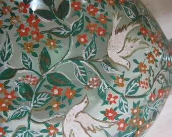 Hand painted glass vase with turtle doves
