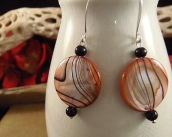 Tiger (Clemson) Orange and Black Mop Earrings w/Silver Findings SALE!