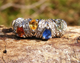 Multi-Colored Sapphire & Sterling Silver Ring