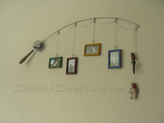 Fishing pole picture frame metal silver 4 by dabbleddetails for Fishing picture frame