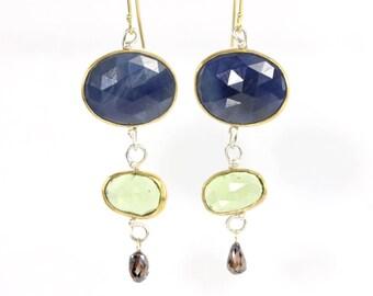 Rose Cut Blue Sapphire Peridot and Diamond Briolette Dangle Earrings