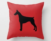 Two Dog Silhouette Pillows : Solid Custom Colors