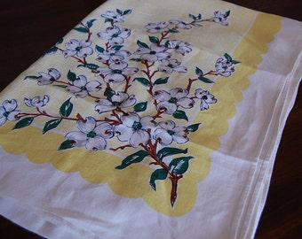Vintage cotton table cloth peach blossom