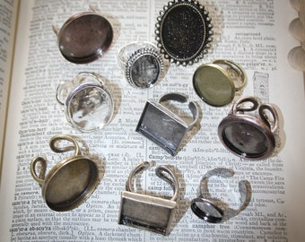 10 Ring Base Blanks and Matching Glass - Mixed Assortment Sampler - Round, Square, Oval Adjustable Jewelry making Sampler