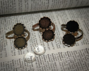 10 KITS  Ring Round bases with glass  - 12mm base setting base antique Bronze, silver plated, Vintage Adjustable - findings