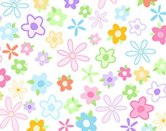 Floral Fabric, Tutu Cute by Quilting Treasures, Flowers, Children Fabric, 1/2 Yard Fabric, 02165