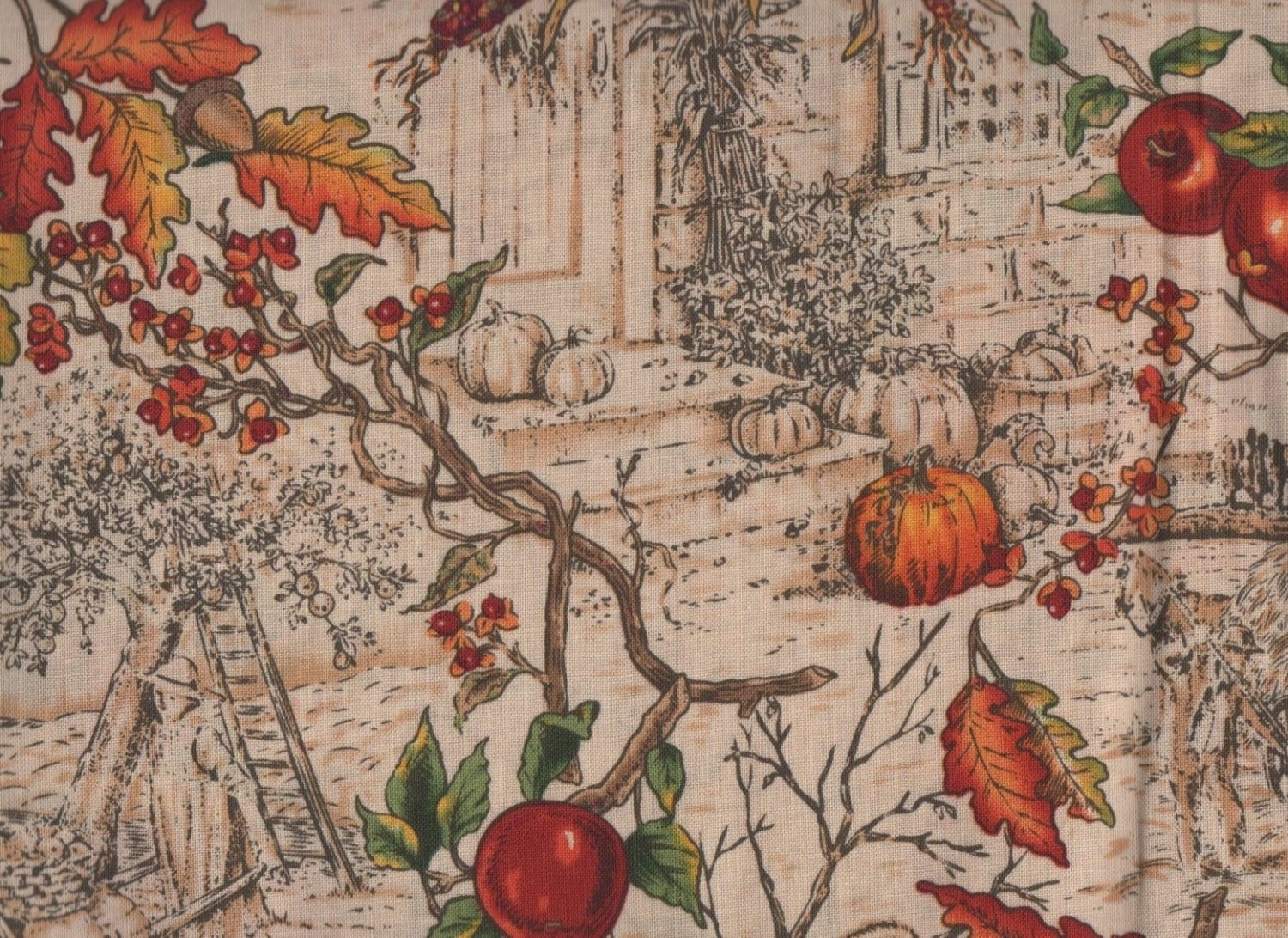 1 Fat Quarter Autumn Fabric Fall Fabric Harvest Toile