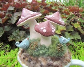 Mushrooms & Birds / Handcrafted / Garden / Nature / Needle Felting / Polymer Clay
