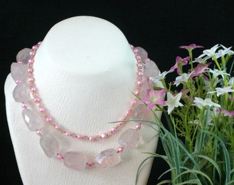 Chunky Pink Gemstone Necklace, Pearl, Rose Quartz Necklace, Multi Strand Necklace, Chunky Bead Necklace, Quartz Statement Necklace