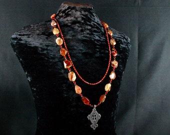 Carnelian Necklace, Ethiopian Cross Necklace, African Jewelry, Ethnic Jewelry, Pietersite Necklace, Chunky Bead, Multi Strand Necklace