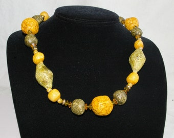 """Chunky, Hippie Clay, Wood and Crystal Necklace - Bright Yellow Orange and Green - 1960s - 31"""""""