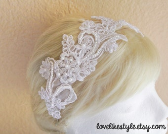 White Pearl Beading Lace Headband / Bridal White Headband, White Lace Head Piece
