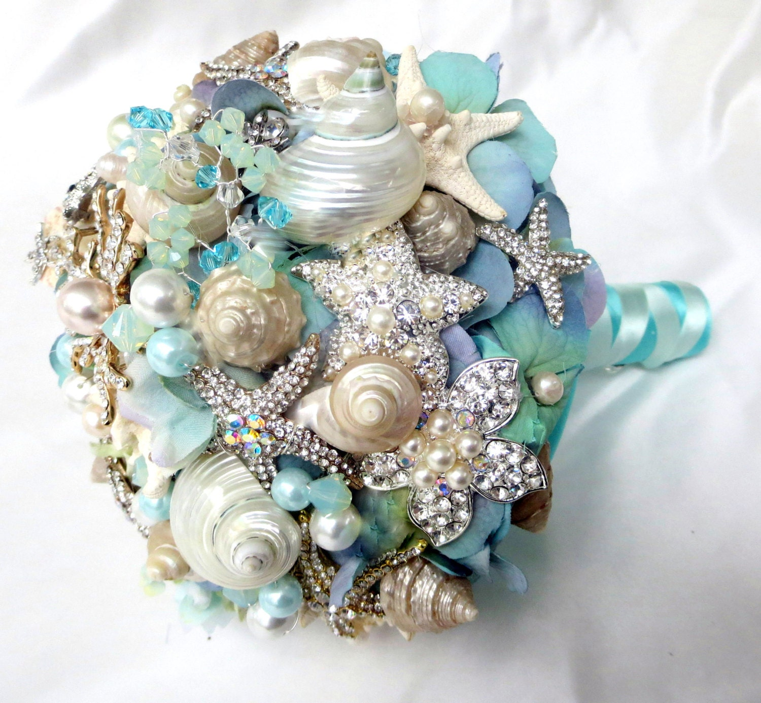 Wedding Bouquets: Sea Shell Wedding Bouquet Tiffany Blue Bridal Bouquet Beach