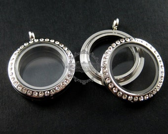 1pcs  25mm high quality round with crystals glass screw top closure stainless steel silver memory photo locket for floating charms 1820140
