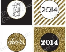 Gold New Year Printable Party Squares - DIY Cupcake Toppers - 2014 Glitter New Year's Eve Celebration