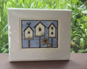 Birdhouse Block Print