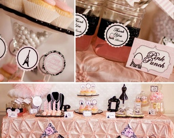 Paris Bridal Shower - Parisian Bridal Shower - PRINTABLE Personalized Package - Wedding Shower