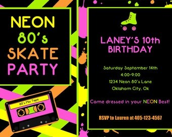 80's Party Invitation - Roller Skate Party - Neon Party - PRINTABLE Personalized Printable Invitation and Thank You Card